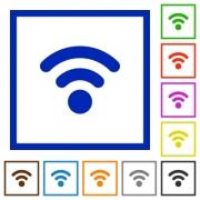 Set of color square framed Radio signal flat icons - Radio signal framed flat icons - Large thumbnail