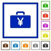 Set of color square framed Yen bag flat icons - Yen bag framed flat icons - Large thumbnail
