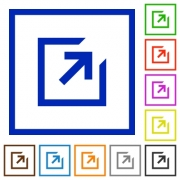 Set of color square framed export flat icons - Export framed flat icons - Large thumbnail