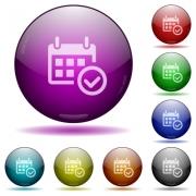 Set of color Calendar check glass sphere buttons with shadows. - Calendar check glass sphere buttons - Large thumbnail