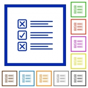 Set of color square framed questionnaire flat icons - Questionnaire framed flat icons