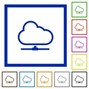 Set of color square framed Cloud network flat icons - Cloud network framed flat icons