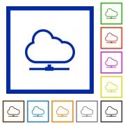 Set of color square framed Cloud network flat icons - Cloud network framed flat icons