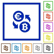 Set of color square framed Euro Bitcoin exchange flat icons - Euro Bitcoin exchange framed flat icons