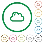 Set of cloud color round outlined flat icons on white background - Cloud outlined flat icons