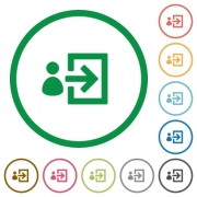 Set of User login color round outlined flat icons on white background - User login outlined flat icons