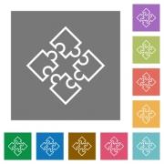 Puzzle contour flat icon set on color square background. - Puzzle contour square flat icons
