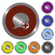 Set of color glossy coin-like Post blog comment buttons. - Color Post blog comment buttons