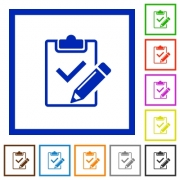 Set of color square framed Fill out checklist flat icons - Fill out checklist framed flat icons