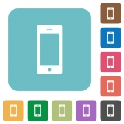 Flat cellphone icons on rounded square color backgrounds. - Flat cellphone icons