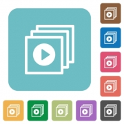 Flat play files icons on rounded square color backgrounds. - Flat play files icons