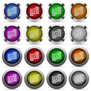 Set of Bitcoins glossy web buttons. Arranged layer structure. - Bitcoins glossy button set
