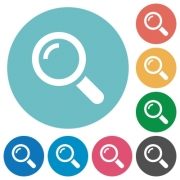 Flat magnifier icon set on round color background.
