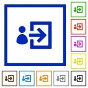 Set of color square framed user login flat icons - User login framed flat icons