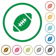 Set of Rugby ball color round outlined flat icons on white background - Rugby ball outlined flat icons