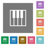 Piano keyboard flat icon set on color square background. - Piano keyboard square flat icons