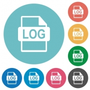 Flat LOG file format icon set on round color background. - Flat LOG file format icons
