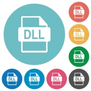 Flat DLL file format icon set on round color background. - Flat DLL file format icons - Large thumbnail