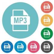 Flat MP3 file format icon set on round color background. - Flat MP3 file format icons - Large thumbnail