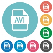 Flat AVI file format icon set on round color background. - Flat AVI file format icons - Large thumbnail