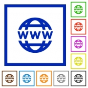 Set of color square framed WWW globe flat icons - WWW globe framed flat icons - Large thumbnail