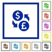 Set of color square framed Dollar Pound exchange flat icons - Dollar Pound exchange framed flat icons - Large thumbnail