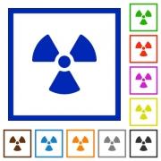 Set of color square framed radiation flat icons - Radiation framed flat icons - Large thumbnail