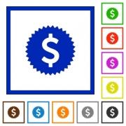 Set of color square framed Dollar sticker flat icons - Dollar sticker framed flat icons - Large thumbnail