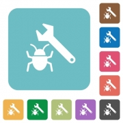 Flat bug fixing icons on rounded square color backgrounds. - Flat bug fixing icons