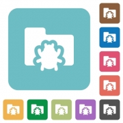 Flat bug folder icons on rounded square color backgrounds. - Flat bug folder icons