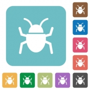 Flat bug icons on rounded square color backgrounds. - Flat bug icons
