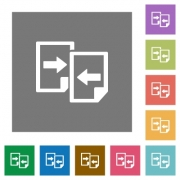 Share documents flat icon set on color square background. - Share documents square flat icons