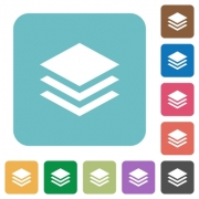 Flat layers icons on rounded square color backgrounds. - Flat layers icons