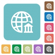 Flat internet banking icons on rounded square color backgrounds. - Flat internet banking icons