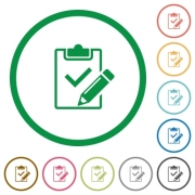 Set of Fill out checklist color round outlined flat icons on white background - Fill out checklist outlined flat icons