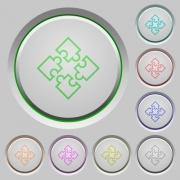 Set of color puzzles sunk push buttons. - Puzzles push buttons