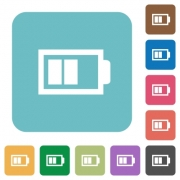 Flat half battery icons on rounded square color backgrounds. - Flat half battery icons