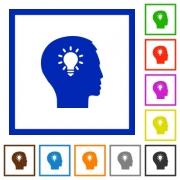 Set of color square framed idea flat icons - Idea framed flat icons