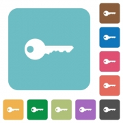 Flat key icons on rounded square color backgrounds. - Flat key icons