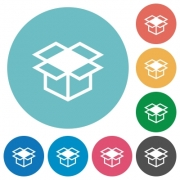 Flat open box icon set on round color background. - Flat open box icons