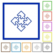 Set of color square framed puzzles flat icons - Puzzles framed flat icons