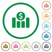 Set of Dollar graph color round outlined flat icons on white background - Dollar graph outlined flat icons