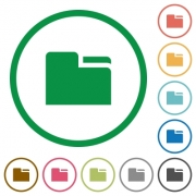 Set of tab folders color round outlined flat icons on white background - Tab folders outlined flat icons