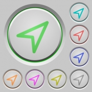 Set of color direction arrow sunk push buttons. - Direction arrow  push buttons