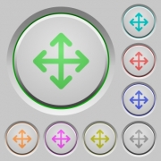 Set of color move sunk push buttons. - Move push buttons