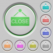Set of color close sign sunk push buttons. - Close sign push buttons