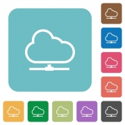 Flat cloud network icons on rounded square color backgrounds. - Flat cloud network icons