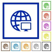 Set of color square framed Remote terminal flat icons - Remote terminal framed flat icons