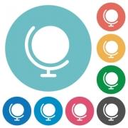 Flat globe icon set on round color background. - Flat globe icons