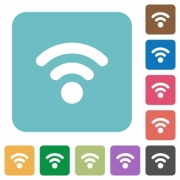 Flat radio signal icons on rounded square color backgrounds. - Flat radio signal icons